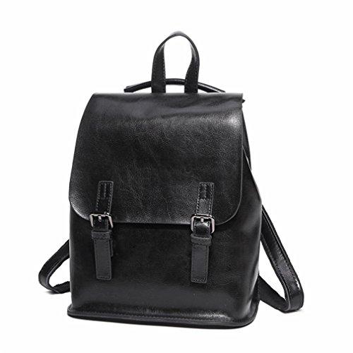 Mochila de cuero Vintage College School mochila para Adolescente mujer mochila de cuero natural Verde 24x25x11cm. Black