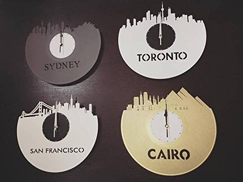 VinylShopUS - Delhi Vinyl Wall Clock City Skyline Capital of India Unique Gift For Home Room Decoration by VinylShopUS (Image #5)