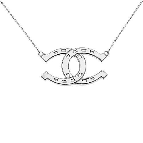 (14k White Gold Criss Cross Horse Shoe Good luck Necklace, 18