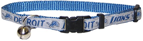 NFL CAT COLLAR. - DETROIT LIONS CAT COLLAR. - Strong & Adjustable FOOTBALL Cat Collars with Metal Jingle (Detroit Lions Leash)