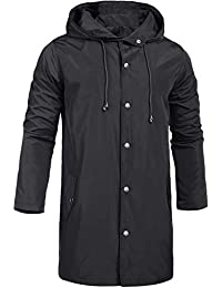 Men's Raincoats Waterproof Jacket with Hood Windbreaker Breathable Lightweight Outdoor Long Rain Jacket for Men S-XXL
