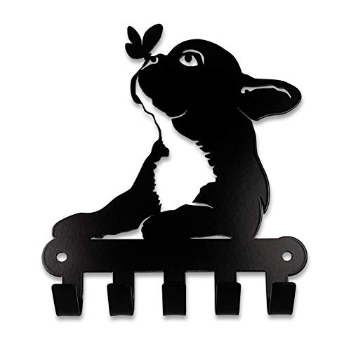 Pet Deco Key Holder for Wall, Kitchen or Entryway | Easy Wall Mount 5 Hooks Key Rack Organizer for Home or Office | Featuring French Bulldog and a Butterfly | Decorative Holder for Keys, Dog Leash's from Pet-Deco