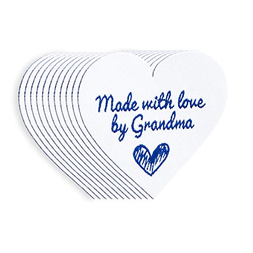 Wunderlabel Made with Love by Grandma Iron On Heart Woven Clothing Label Tags Craft Art Fashion Granny Grandmother Nana Clothes Ribbon Sewing Garment Fabric Material, Blue on White 40x35 mm ()