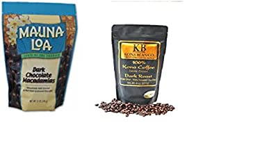 Mauna Loa Macadamia Nuts Dark Chocolate 11oz Bag, 1 Kona Bean Co. 100% Kona Coffee Estate Grown - Dark Roast - Ground 8oz