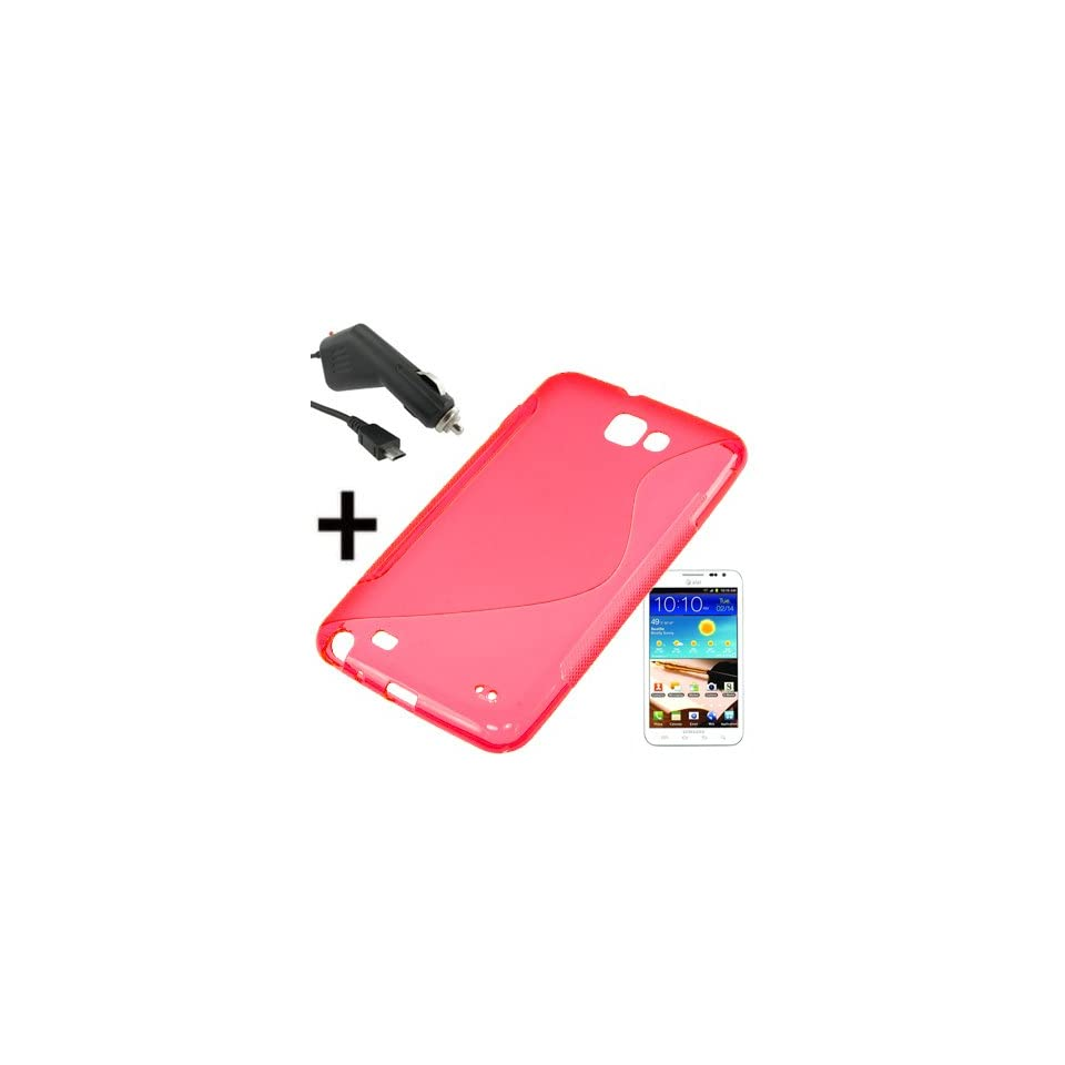 BW TPU Sleeve Gel Cover Skin Case for AT&T Samsung Galaxy Note i9220 i717 + Car Charger Red