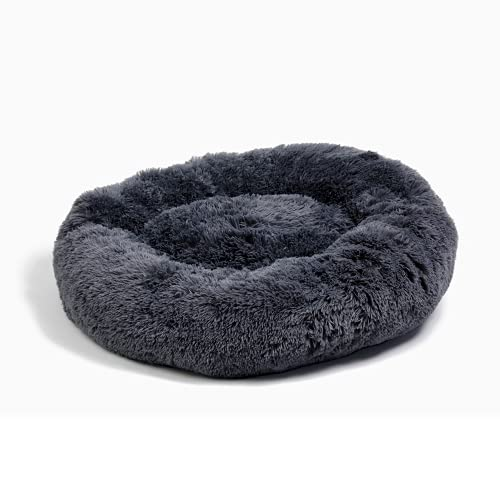 Alpha Paw Cozy Calming Dog Bed for Small Dogs, Anti Anxiety, Comfy, Fluffy, Ultra Soft, Round Pillow Donut Pet Bed for Dogs (Large 32″, Grey)