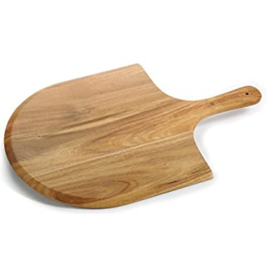 Heritage Acacia Wood Pizza Peel, luxury paddle for baking homemade pizza and bread, Great for cheese board, platter, charcuterie boarda
