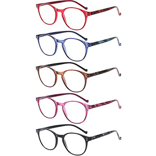 5 Pairs Reading Glasses - Standard Fit Spring Hinge Readers Glasses for Men and Women (Black Purple Red Blue Brown, ()