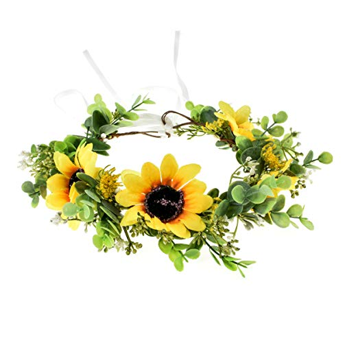 Vividsun Sunflower Crown Floral Flower Crown Hair Accessories (Yellow)