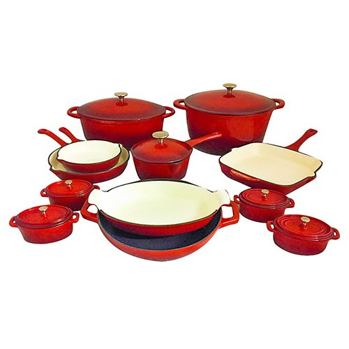 Le Chef 19 Piece ALL Enameled Cast Iron Cherry Cookware Set.