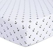TILLYOU Organic Crib Sheet Printed, 100% Breathable Cotton Toddler Sheets for Boys, Soft Cozy Hypoallergenic, 28 x52  Navy Nautical Anchors