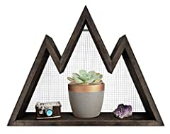 Mkono mountain shelf can be a statement piece in any room. It's unique design and shape can stand alone or display home decor items. Besides its display function, it can be used as a wall organizer, small stuff storage as well as a nursery sh...