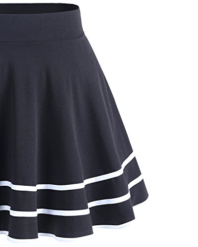 Dresstells Courte Évasée Polyester Mini En Jupe Royalblue white SqzSr4
