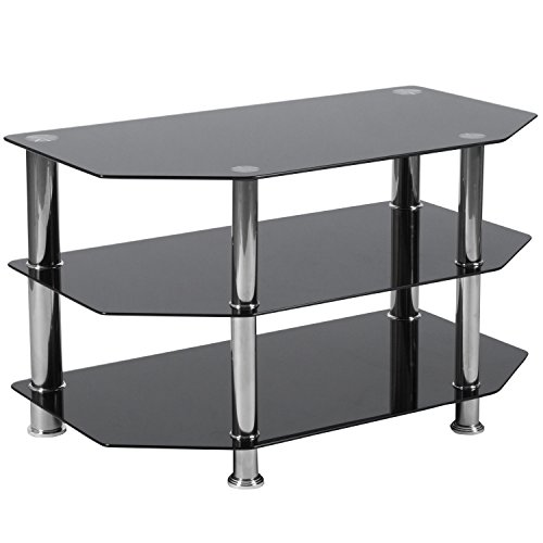 Flash Furniture North Beach Black Glass TV Stand with Stainless Steel Metal Frame - HG-112457-GG - Hexagonal Beveled Glass