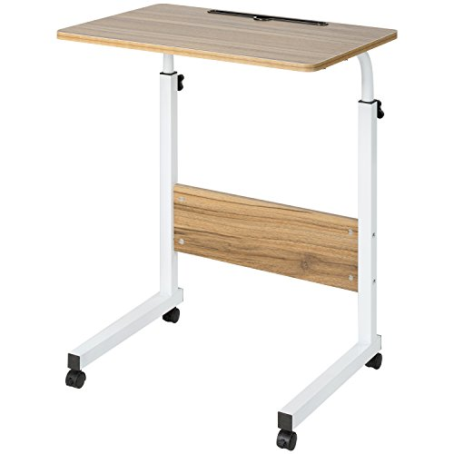 DOEWORKS Side Table, Adjustable Laptop Stand Portable Cart Tray Side Table, Ancient Oak (Laptop Portable Cart)