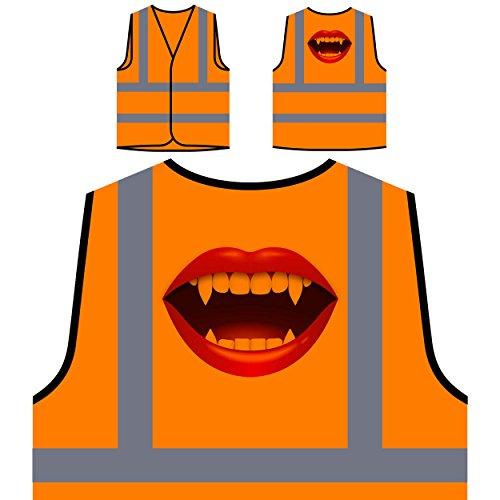 Vampire kiss smile Lipps Novelty gift Personalized Hi Visibility Orange Safety Jacket Vest Waistcoat p58vo
