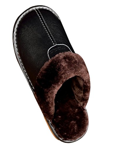 Cattior Mens Pu Leather Leather Foderato Inverno Caldo Pantofole In Pelle Soffici Pantofole Nere
