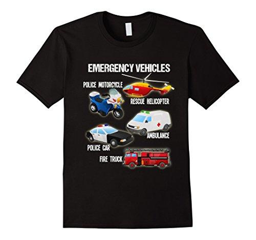 Mens Types of Emergency Vehicles Vehicles Transportation T-Shirt Medium Black