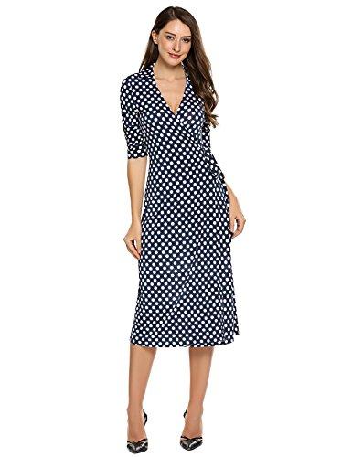 Zeagoo Women's Casual Half Sleeve Printed Dot Wrap Waist Cross Retro Midi Dress
