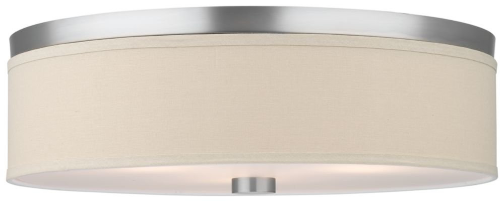 Forecast Lighting F1319-36 Embarcadero Three-Light Flushmount with Vanilla Fabric Shades and Etched White Glass, Satin Nickel