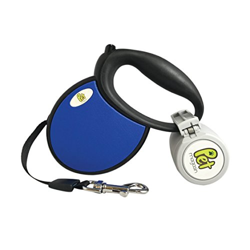Retractable Dog Leash For Small & Medium Dog(Dark Blue, Medium) with Poop Bag Holder
