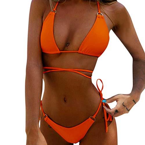 BBesty Women's Bandeau Bandage Bikini Set Push-Up Brazilian Swimwear Beachwear Swimsuit for Summer Beach B Orange