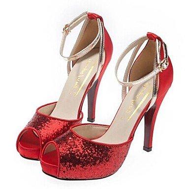 Stiletto Talón Rojo Carrera Plataforma Glitter Otoño US5 amp;Amp; Vestidos Verano Primavera Oficina UK3 Mujer CN34 RTRY amp;Amp; Noche La EU35 Sequinblack Plata Plataforma Wedding yqpZH6c