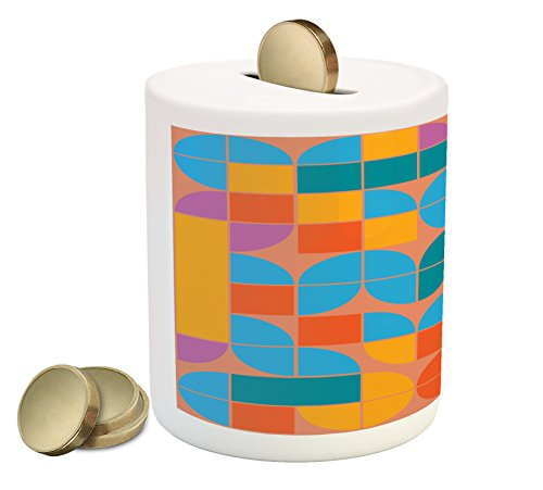 (Lunarable Geometric Piggy Bank, Retro Style Mosaic Geometric Shapes of Quadrants and Squares in, Printed Ceramic Coin Bank Money Box for Cash Saving, Multicolor)