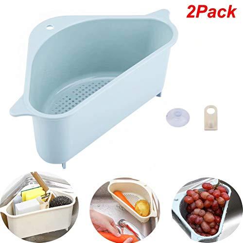 2Pack Triangular Sink Drain Shelf, Kitchen Multi-purpose Basket Suction Cup Kitchen Storage Dish Rack Organizer for Kitchen Bathroom
