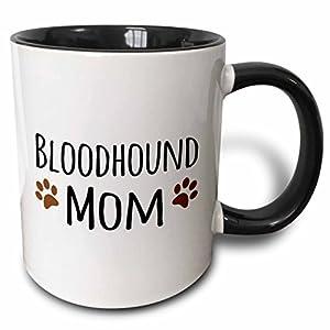 "3dRose 154076_4""Bloodhound Dog Mom-Doggie by breed-brown muddy paw prints Mug, 11 oz, Black 14"