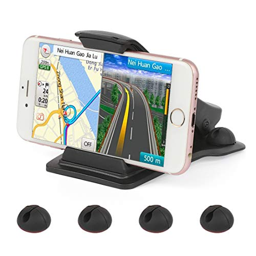 Car Phone Mount,Leelbox Phone Holder for Car Dashboard Cell Phone Holder Mount Stand with 5 Cable Clips and Strong Sticky Pads Universal for 3-6.5 inch Smartphone or GPS Devices - Black by Leelbox