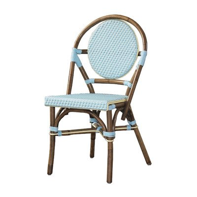 Outdoor Cottage Paris Bistro Fabric Side Chair Color: Blue