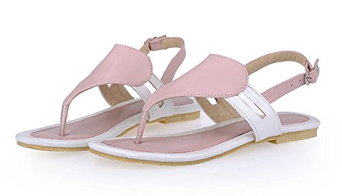 Easemax Womens Casual Sweet Heart Shape T-Strap Open Toe Buckle Thong Flip Flop Sandals Pink FpcRw7