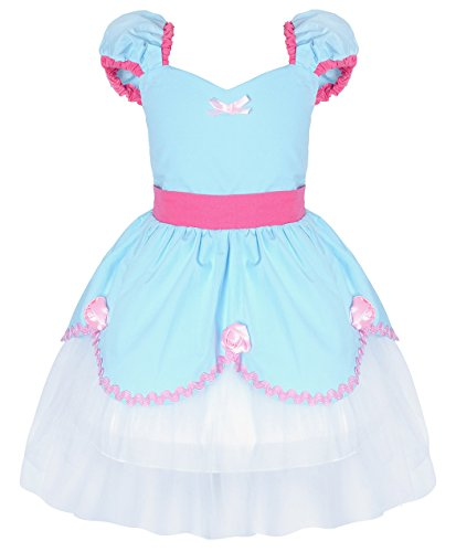 Cotrio Princess Cinderella Costume Toddlers Girls Theme Birthday Party Fancy Dresses Kids Halloween Dress Up Clothes Outfits Size 2T (1-2 Years, Blue, 100) -