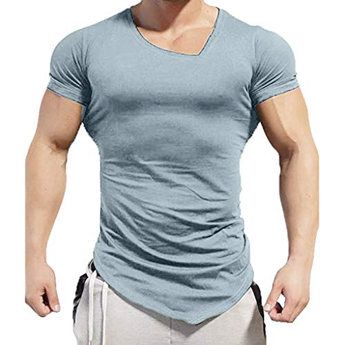 (Men's Gym Muscle Fitness T-Shirt,MmNote Premium Fitted Fashion Design Polyester Cool Quick Workout Short Sleeve Gray)