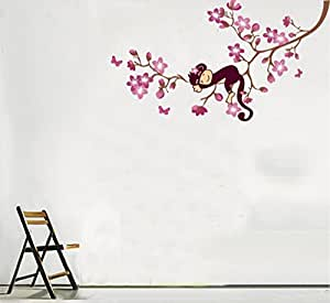 Morningtide Monkey Tree Pink Flower Removable Wall Decor Decal Sticker