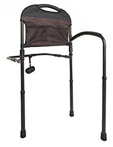 Stander Mobility Adult Home Bed Rail - Elderly Support Bed Handle + Swing-Out Mobility Arm & Adustable Legs Floor Support & Pouch