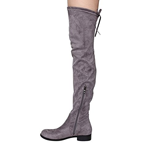 c9a500ada33fc MIUINCY Black Brown Over The Knee Boots Flat for Women High Stretchy Faux  Suede Drawstring Block Low Heel Boots