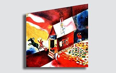 Quadri Moderni Per Ufficio : Quadro marc chagall burning house riproduzione stampa su tela