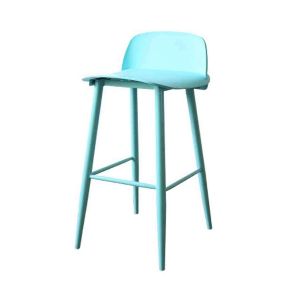 MUMA ハイスツールアイアンアートプラスチックノルディッククリエイティブバーチェアレトロカフェティーショップマルチカラーオプション (色 : 青) B07L8GCJW7 青