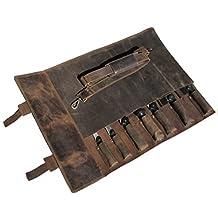 One Leaf - Hunter Leather Knife Bag for Chefs - Khampa (Brass Buckle)