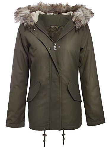 sequin Parka Sherpa Nouveau Manteau 52 Veste Encapuchonne Détachable Toison Khaki Fourrure 36 Femmes Lined XXOqZa