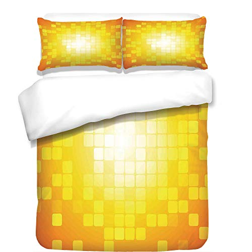 iPrint 3Pcs Duvet Cover Set,Yellow,Mosaic Retro Square Shapes and Patterns Pixels Rays Chic Contemporary Graphic Design,Orange Yellow,Best Bedding Gifts for Family/Friends