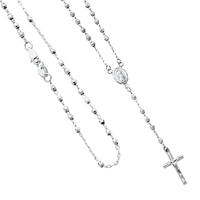 "14K White Gold 2mm Beads Our Lady Guadalupe Rosary Necklace with Lobster Claw Clasp - 17"" Inches"