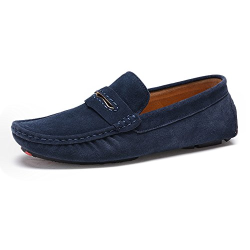 Ruiyue Loafers Shoes, Comfortable Fashion Style Driving Penny Moccasins Suede Genuine Leather Soft Rubber Sole Loafers Navy