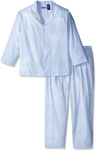 Fruit of the Loom Men's Long Sleeve Broadcloth Pajama Set, Royal, 2X Large