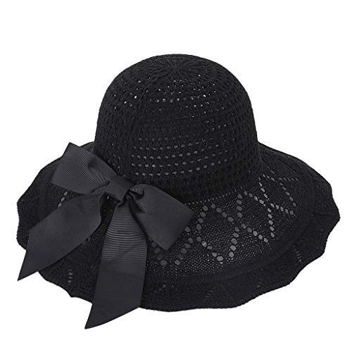 hositor Kentucky Derby Hat, Women's Organza Church Kentucky Derby Fascinator Bridal Tea Party Wedding Hat Black ()