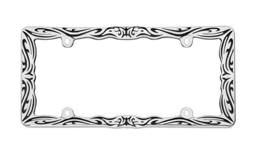 (Cruiser Accessories 22135 Tribal II License Plate Frame, Chrome/Black)