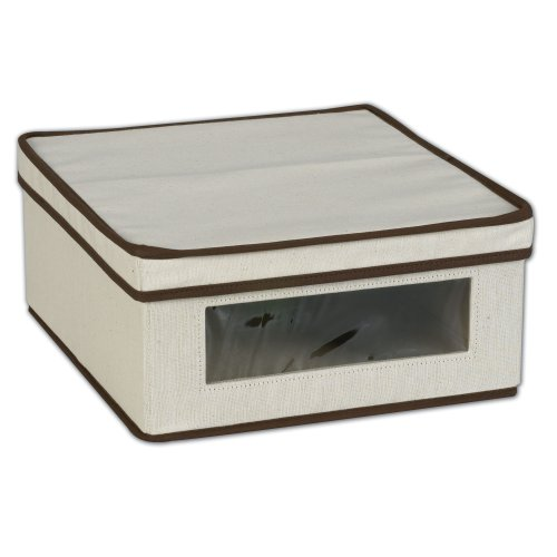 Household Essentials 510 Vision Storage Box - Natural Canvas with Brown Trim - Small Container Flat Lid