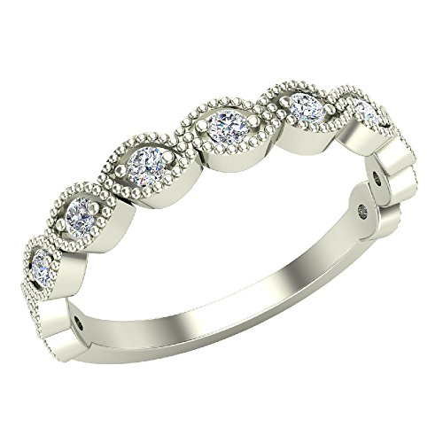 Designer Stacking Marquee Round Cut Milgrain Diamond Wedding or Anniversary Band 0.22 carat total weight 14K White Gold (Ring Size 7) (Marque Diamond Ring)